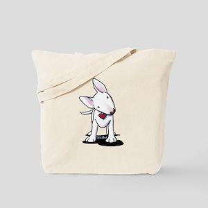 Curious Bull Terrier Tote Bag