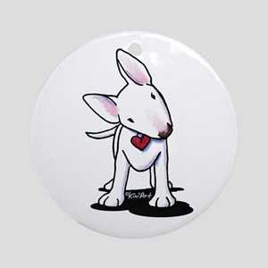 Curious Bull Terrier Ornament (Round)