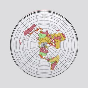 New Flat Stationary Earth Map Round Ornament