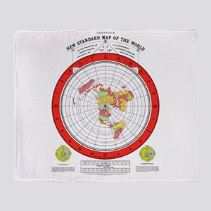 New Flat Stationary Earth Map Throw Blanket