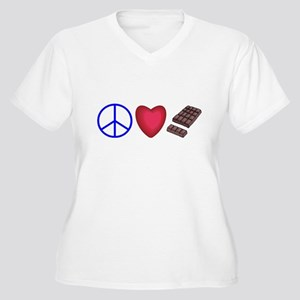 peace, love and chocolate Women's Plus Size V-Neck