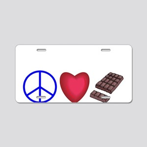 peace, love and chocolate Aluminum License Plate