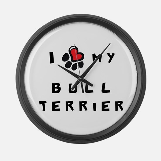 I *heart* My Bull Terrier Large Wall Clock