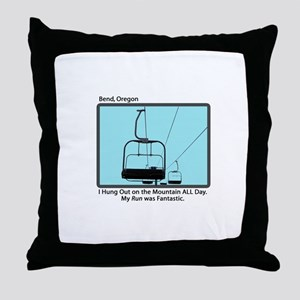 Chair Lift Blues Throw Pillow