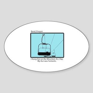 Chair Lift Blues Oval Sticker
