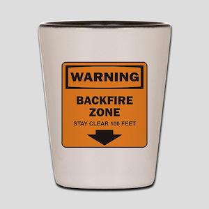 Warning Backfire Shot Glass