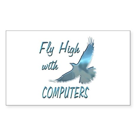 Fly with Computers Sticker (Rectangle 10 pk)