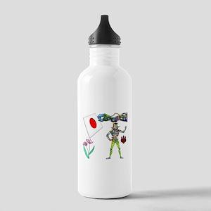 Traffic Robot Japan Flag Stainless Water Bottle 1.
