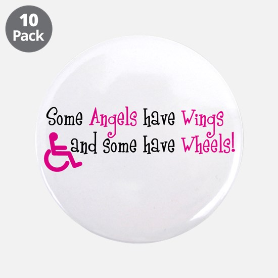 """Some Angels have Wheels 3.5"""" Button (10 pack)"""
