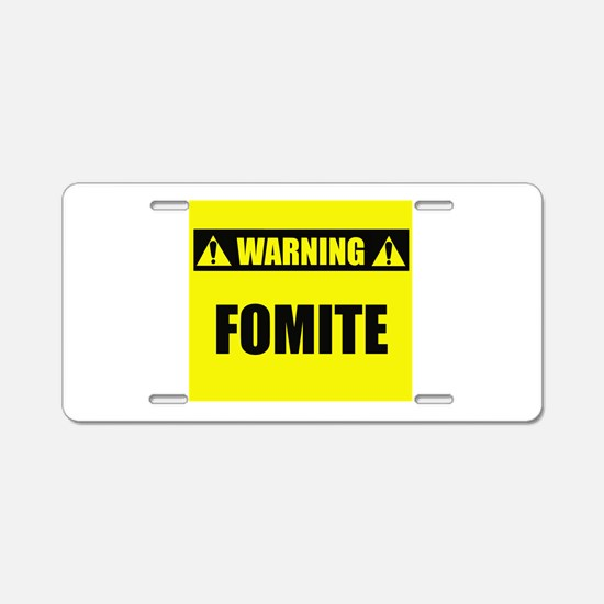 WARNING: Fomite Aluminum License Plate