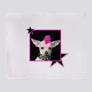Rock Star Chihuahua Throw Blanket