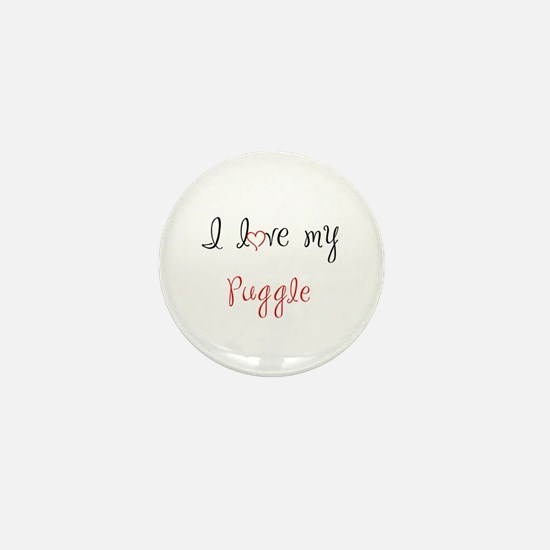 I Love My Puggle Mini Button