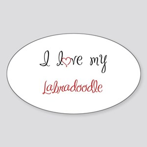 I Love My Labradoodle Sticker (Oval)