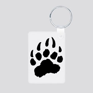 BLACK Bear Paw Aluminum Photo Keychain