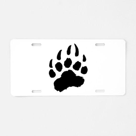 BLACK Bear Paw Aluminum License Plate