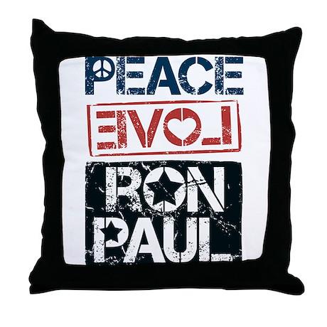 Peace Love Ron Paul Throw Pillow