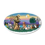 StFrancis-Dogs-Cats-Horse 22x14 Oval Wall Peel