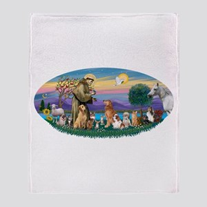 StFrancis-Dogs-Cats-Horse Throw Blanket