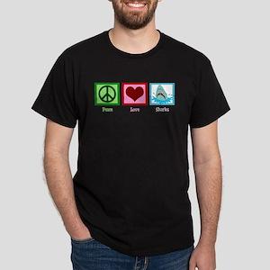 Peace Love Sharks Dark T-Shirt