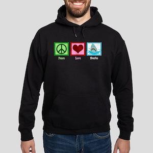Peace Love Sharks Hoodie (dark)
