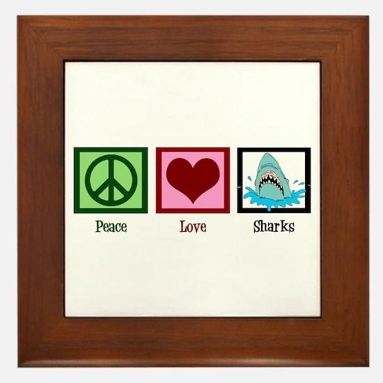 Peace Love Sharks Framed Tile