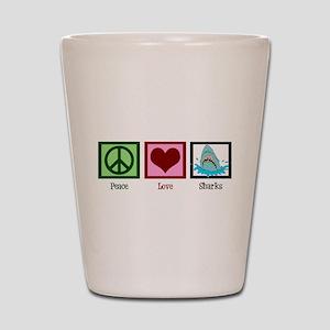 Peace Love Sharks Shot Glass