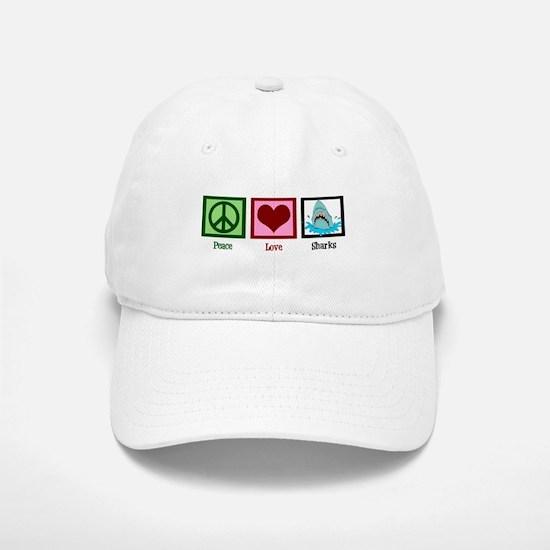 Peace Love Sharks Baseball Baseball Cap