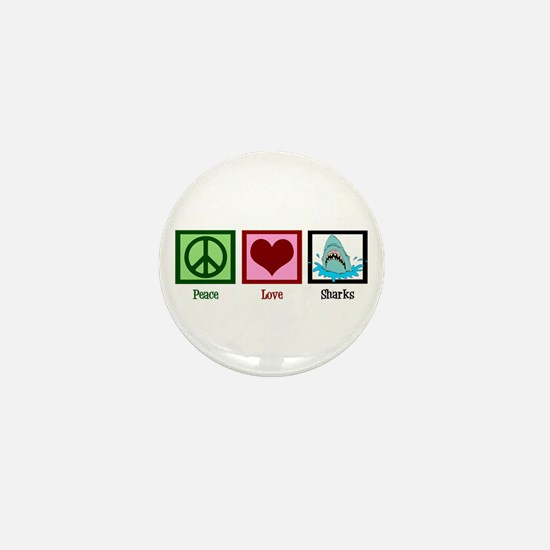 Peace Love Sharks Mini Button
