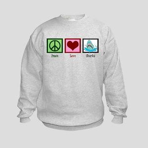 Peace Love Sharks Kids Sweatshirt