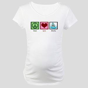 Peace Love Sharks Maternity T-Shirt