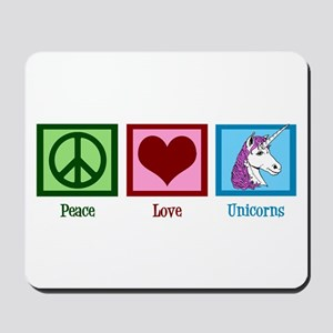 Peace Love Unicorns Mousepad
