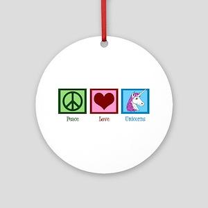 Peace Love Unicorns Ornament (Round)