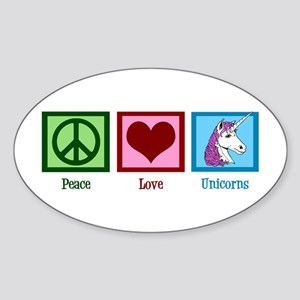 Peace Love Unicorns Sticker (Oval)