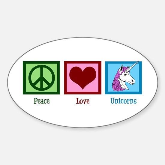 Peace Love Unicorns Sticker (Oval)