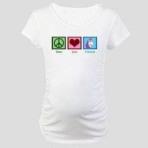 Peace Love Unicorns Maternity T-Shirt