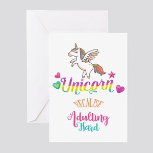 Funny unicorn greeting cards cafepress unicorn because adulting hard greeting cards m4hsunfo