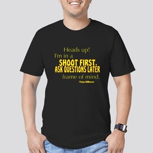 NCIS Quote: Shoot First Men's Fitted T-Shirt (dark