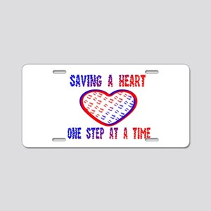 Walk to save a heart Aluminum License Plate