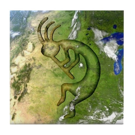 Kokopelli Elemental (Earth) Tile Coaster