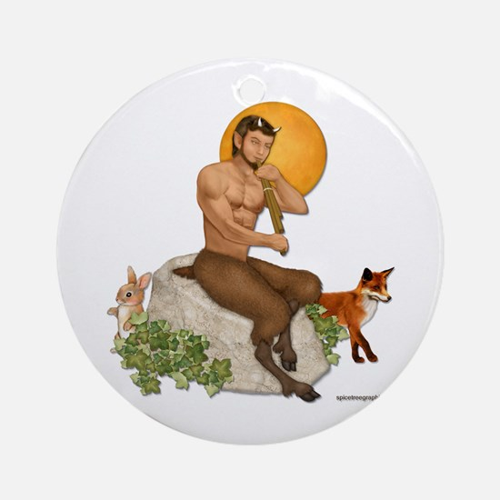 Satyr Playing Pan Pipes Ornament (Round)
