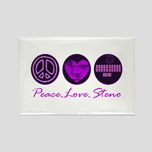 PEACE LOVE STENO Rectangle Magnet
