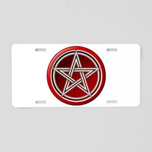 Red Pentacle Aluminum License Plate