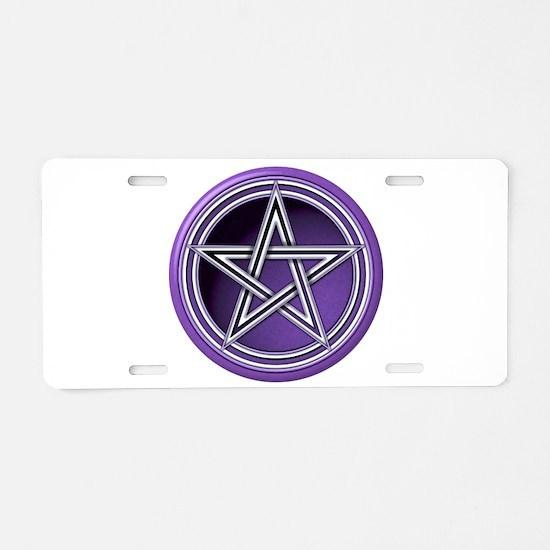 Purple Pentacle Aluminum License Plate