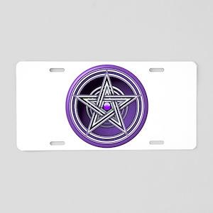 Purple Pentacle w/inlay Aluminum License Plate