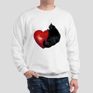 Black Cat Heart Sweatshirt