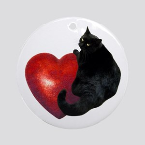 Black Cat Heart Ornament (Round)