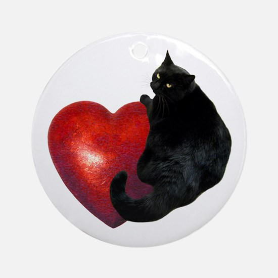 Black Cat Heart Ornament (Round)