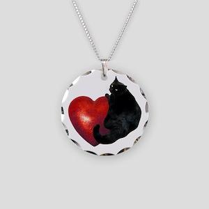 Black Cat Heart Necklace Circle Charm