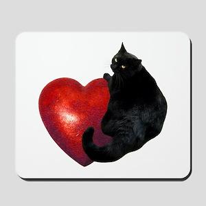 Black Cat Heart Mousepad