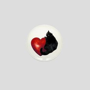 Black Cat Heart Mini Button